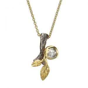 Twig and Leaf Raw Diamond Pendant Yellow Gold