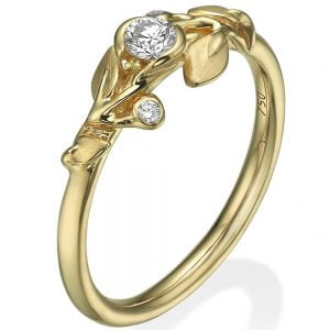 Leaves Engagement Ring #14B Yellow Gold and Diamond