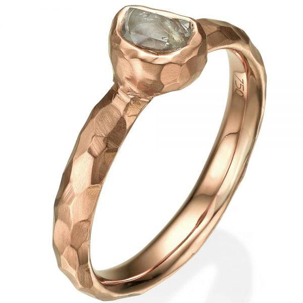 Chiseled Raw Diamond Engagement Ring Rose Gold