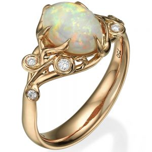 Opal and Diamonds Engagement Ring Rose Gold 17