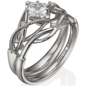 Celtic Bridal Set Platinum and Princess Cut Diamond ENG9