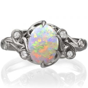 Opal and Diamonds Engagement Ring White Gold 17