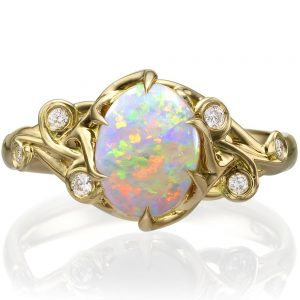 Opal and Diamonds Engagement Ring Yellow Gold 17