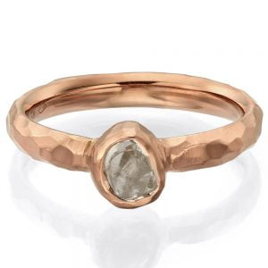 Chiseled Raw Diamond Engagement Ring Rose Gold