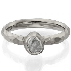 Chiseled Raw Diamond Engagement Ring White Gold