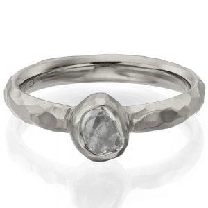 Chiseled Raw Diamond Engagement Ring White Gold