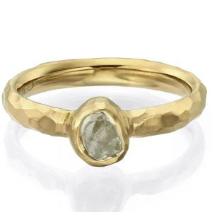 Chiseled Raw Diamond Engagement Ring Yellow Gold