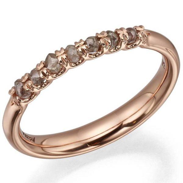 Raw Diamond Half Eternity Ring Rose Gold