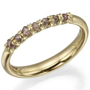 Raw Diamond Half Eternity Ring Yellow Gold