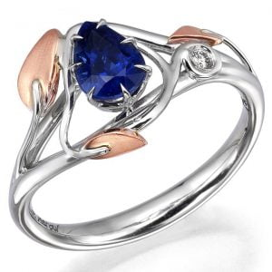 Leaves Engagement Ring Two Tone Rose Gold and Pear Cut Sapphire