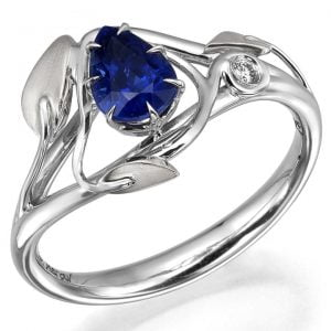 Leaves Engagement Ring White Gold and Pear Cut Sapphire