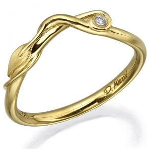 Leaves Diamond Ring Yellow Gold