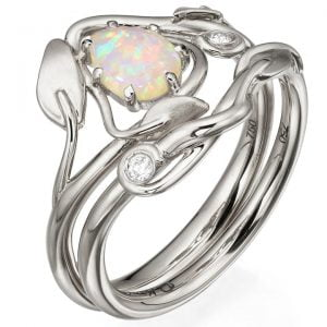 Leaves Opal Bridal Set Platinum 3