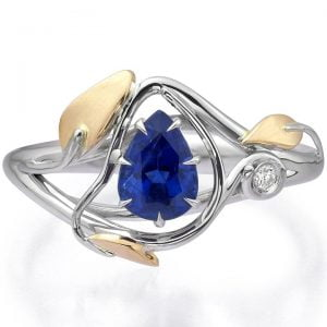 Leaves Engagement Ring Two Tone Yellow Gold and Pear Cut Sapphire