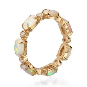 Opal Eternity Ring Rose Gold