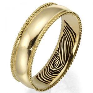 Finger Print Milgrain Wedding Band Rose Gold 2