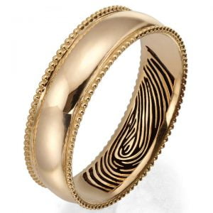 Finger Print Milgrain Wedding Band Rose Gold 2