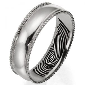Finger Print Milgrain Wedding Band Platinum 2