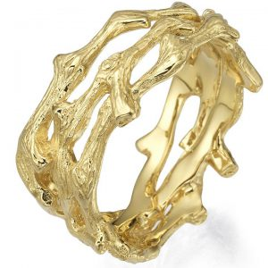 Twig Wedding Band Yellow Gold 12