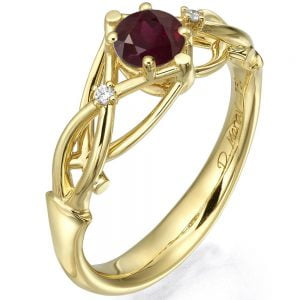Celtic Engagement Ring Yellow Gold and Ruby ENG9