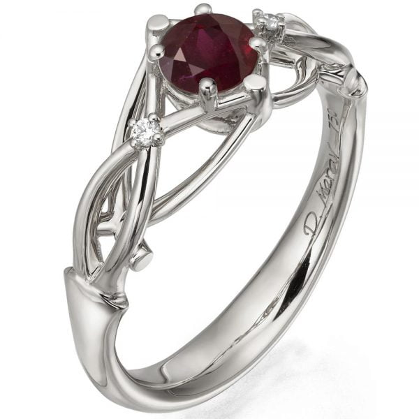 f298b9026eb Celtic Engagement Ring White Gold and Ruby ENG9