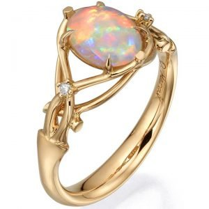 Opal and Diamonds Engagement Ring Rose Gold 9