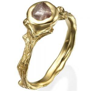 Raw Diamond Twig Engagement Ring Yellow Gold 10