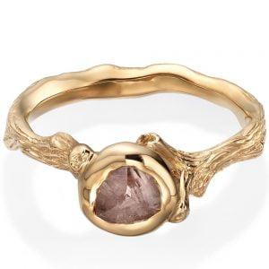 Raw Diamond Twig Engagement Ring Rose Gold 10 Catalogue