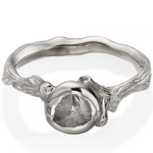 Raw Diamond Twig Engagement Ring White Gold 10