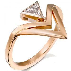 Geometric Triangle Diamond Engagement Rose Gold