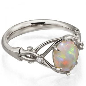Opal and Diamonds Engagement Ring White Gold 9