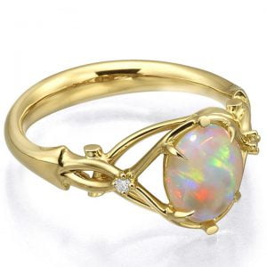 Opal and Diamonds Engagement Ring Yellow Gold 9