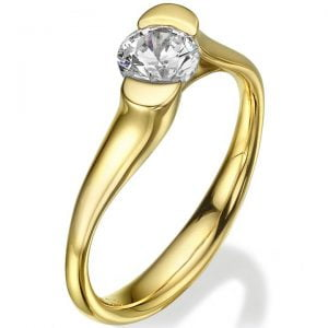 Tension Set Engagement Ring Yellow Gold and Diamond