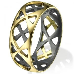 Men's Wedding Band Yellow Gold Grid 4
