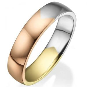 Tricolor Comfort Fit Wedding Band