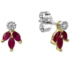 Vintage Earrings Yellow Gold and Marquise Cut Rubies