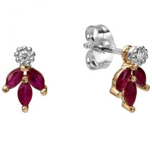 Vintage Earrings Rose Gold and Marquise Cut Rubies