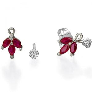 Vintage Earrings White Gold and Marquise Cut Rubies