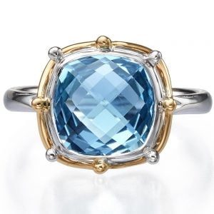 Two Tone Topaz Engagement Ring Yellow Gold R016