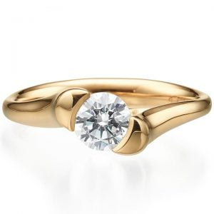 Tension Set Engagement Ring Rose Gold and Diamond
