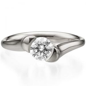Tension Set Engagement Ring Platinum and Diamond