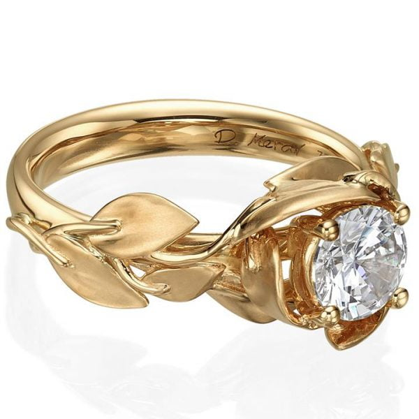 32a76bb1a2e281 Leaves Engagement Ring #7 Rose Gold and Diamond - Doron Merav