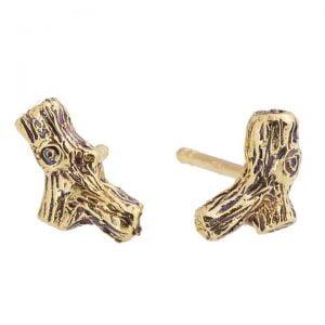 Twig Stud Earrings Rose Gold
