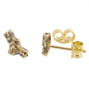 Twig Stud Earrings Yellow Gold