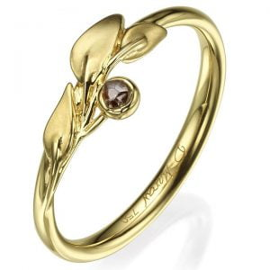 Raw Diamond Leaf Ring Yellow Gold 1