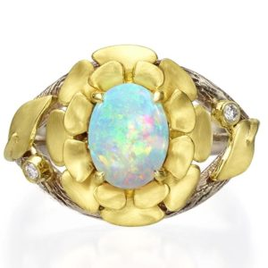 Flower Opal and Diamonds Ring Yellow Gold 8