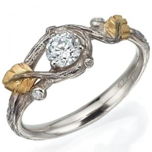 Twig and Leaf Engagement Ring Platinum and Moissanite 31