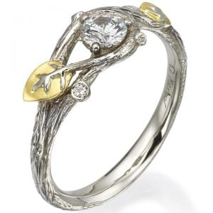 Twig and Leaf Engagement Ring White Gold and Diamond 31