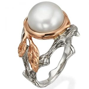 Twig and Leaf Engagement Ring Platinum and Pearl 8
