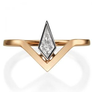 Geometric Kite Diamond Engagement Yellow Gold